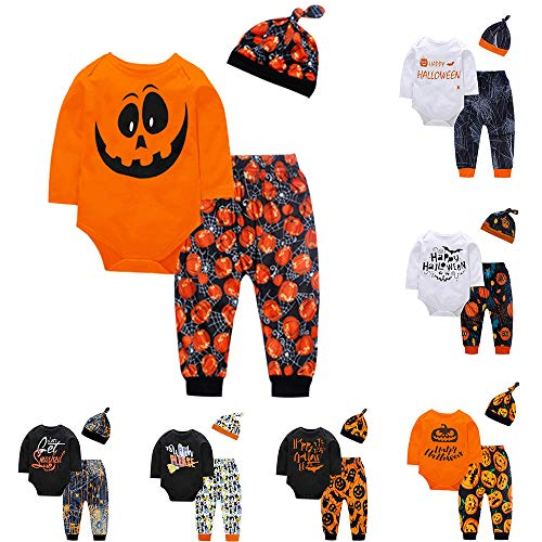 Omiky® Kleinkind Baby Boy Girl Kürbis Print Top Bluse Hosen Cap Halloween Outfits Set (Orange, 24 Monate)