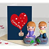 TIED RIBBONS 2 Love Showpieces/ Figurines With Greeting Card For Valentine's Day
