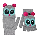 Galeja Fingerhandschuhe Kinder fingerlose Handschuhe mit Klappe Fäustlinge Eule One Size 8-12 Jahre
