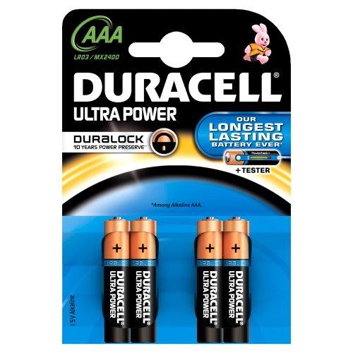 Duracell - Pile Alcaline - Duralock AAA x 4 Ultra Power (LR03)