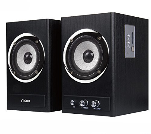 Ricco 24 W RMS Bluetooth 2 Channel RMS Wooden Chrome Speaker Home Hi-Fi System with USB Flash Drive Playback T2018 - Black