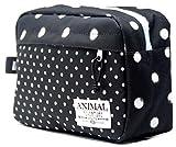 Animal Toiletry/Travel Bag in Black Spot Cotton