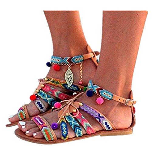 Beautyjourney sandali donna bassi eleganti estivi sandali tacco basso infradito donna eleganti sandali scarpe peep-toe - donna bohemia sandali in pelle scarpe pom-pom sandali (39, multicolore)