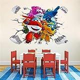 YUSDK Cartoon Super Wings 3D Wandaufkleber Kinder