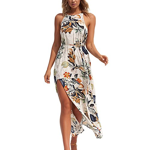 WWricotta Women Summer Beach Floral Flower Long Sleeveless Bohe Halter Leaf Dress M(Gelb,M) (Rosa Pullover Und Braune Womens)