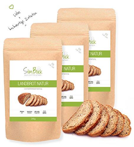 SlimBack - Low Carb Landbrot Natur - 3er Pack (Ergibt ca. 1440g) - Brot Backmischung -...
