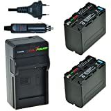 ChiliPower Sony NP-F970, NP-F975, NP-F960, NP-F950 Kit: 2x Batterie (7400mAh) + Chargeur pour Sony DCR-VX2100, DSR-PD150, DSR-PD170, FDR-AX1, HDR-AX2000, HDR-FX1, HDR-FX7, HDR-FX1000, HVL-LBPB, HVR-HD1000U, HVR-V1U, HVR-Z1P, HVR-Z1U, HXR-MC2000U, MVC-FDR1, NEX-EA50UH, NEX-FS100U, NEX-FS700U