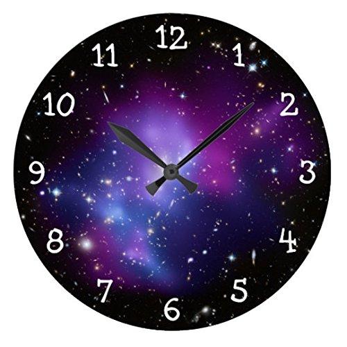 Monsety Lustige Wanduhren für Wohnzimmer lila Galaxie Kinderzimmer rund Holz Uhr für Küche Dekor 30 cm