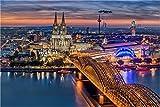 XXL echtes Farbdia Wandbild, Nächtlicher Dom Hohenzollernbrücke Köln, tauschbares Wechselmotiv (nur Hinterleuchtung) für unsere LED Acrylglas Bilder als exklusive Wanddeko 90 x 60cm
