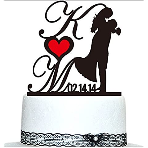 Buythrow Custom Cake Topper wedding Cake Toopers Personalized Initial Cake Toppers Bride and Groom Wedding Cake Toppers and Custom Wedding Date by buythrow cake