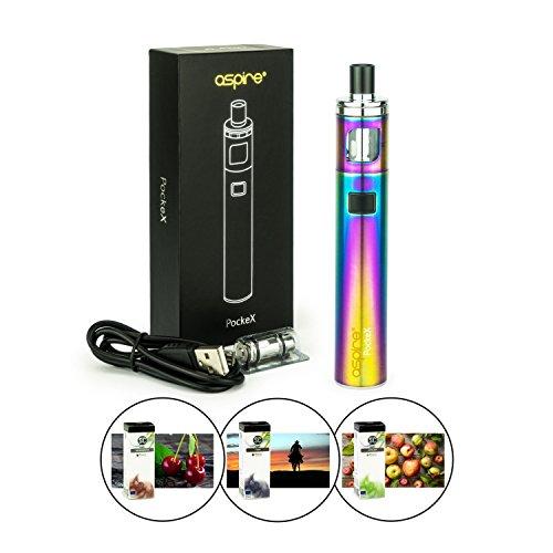 Aspire PockeX Kit 1500 mAh 2 ml Tank + 3 x 10ml SC-Liquid (nikotinfrei) E-Zigaretten-Set E-Zigarette E-Shisha (regenbogen)