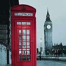 Cortina para ducha impermeable diseño Cabina Roja y Big Ben 180 x 180 cm