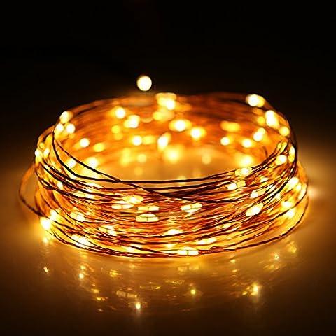 JZHY Luces de cuerda,luces de cadena USB,6 modos,la velocidad de parpadeo 5,7 luminancia,100 LEDs,33 pies de alambre de cobre de 5V,para interior-exterior luces de cadena para el dormitorio,Jard¨ªn,Fiesta,¨¢rbol de Navidad,Decoraciones(Oro)