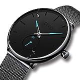 Herren Schwarz Uhren Männer Edelstahl Wasserdicht Mesh Uhr Einfacher Designer Analog Quarz Stilvolle Armbanduhren Luxus Geschäft Kleid Gents Klassische Uhren für Männer mit Sub Zifferblatt