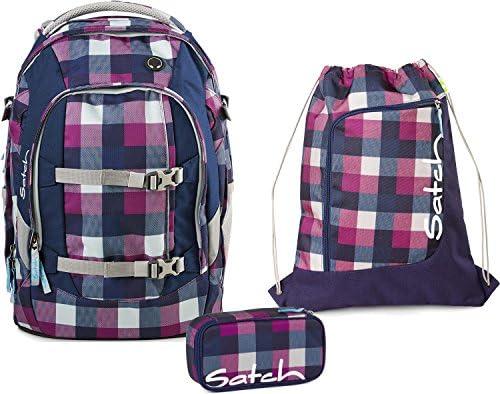 Satch Set per la scuola, 3 pezzi, pezzi, pezzi, Pack Berry Carry 966, Coloreeee  lilla e blu a quadri | Facile da usare  | Ufficiale  | Fai pieno uso dei materiali  11c463