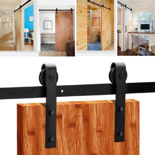 Sliding Door Track, Stainless Sliding Barn Door Closet Hardware Track System Unit Kit for Single Wooden Door (6FT)