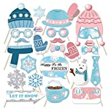 AIYANG Winter Wonderland Photo Props Kit Happy to Be Frozen Let It Snow Slogan Winter Themed Selfie Props Winter Baby Shower Birthday Wedding Party Favors (25Pcs)