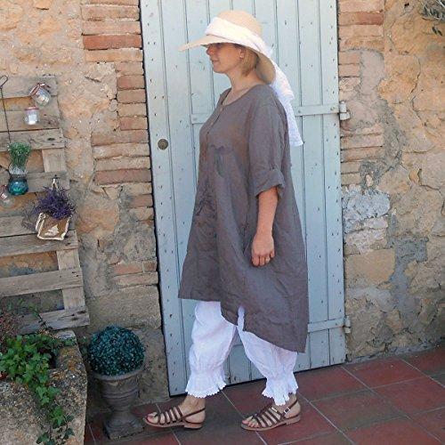 Coklico - Robe Tunique Lin motifs - 44 46 48 - M. Sucrette Taupe