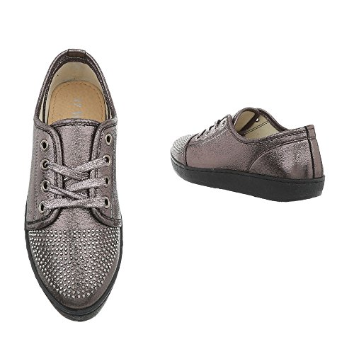 Ital-design Chaussures Femme Sneaker Plat Sneakers Faible Argent Gris Aaa-41