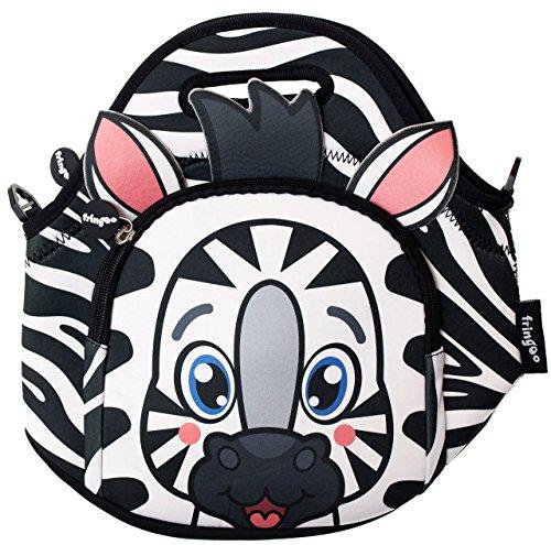 Fringoo bambini termica scuola materna cooler/lunch bag con tasca con cerniera/tracolla, neoprene, zebra, 11.81x 11.81x 0.79cm