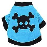 Wishwin Haustier-Hund-Blau-Skull-Muster-T-Shirt Katzen-Mantel mit Schwarz Kleidung