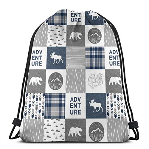 beautiful& Navy and Grey Fearfully and Wonderfully Made Adventure - Patchwork Woodland Quilt Top C18BS_7308 3D Print Drawstring Backpack Rucksack Shoulder Bags Gym Bag for Adult 16.9