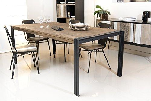 Macabane Table à Manger Bois et métal, Teck, Brun, 200 x 100 x 78 cm