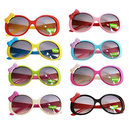 Lunettes De Soleil Enfants Coloré Mode UV400 Décoration de N½ud Papillon/Bowknot Mignons - Cadre Blanc + Jambe Rose #6