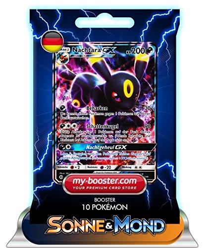Preisvergleich Produktbild NACHTARA GX 80/149 200KP SONNE UND MOND 1- Booster mit 10 Deutsch Karten Pokemon my-booster