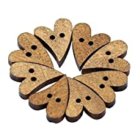 Carry stone 100pcs 2 Holes Lovely Brown Wood Wooden Sewing Heart Shape Button Craft 16 * 13.5 * 3mm And Useful