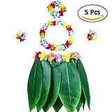Jweal Hula Falda Disfraz 5 Piezas Falda de Hojas Hula con Colorido Guirnalda Que es Sentado para Mujeres/Adultos, el Estilo Hawaiano Set Perfecto para Decoración de Fiesta/Playa.