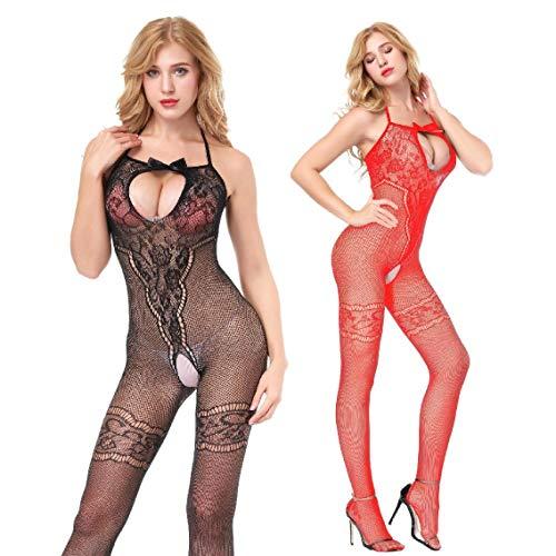 Amoure 2-Pack Damen Unterwäschen Reizwäsche Netz Strumpfhose Bodystockings Hohle Blumen Frauen Bodysuit Nachtwäsche Dessous (Schwarz+Rot) - Roter Bodystocking