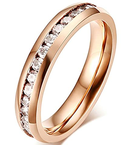 Beydodo Stainless Steel Ring For Women(Wedding Band)Eternity Band White CZ Width 4MM Rose Gold Size J 1/2