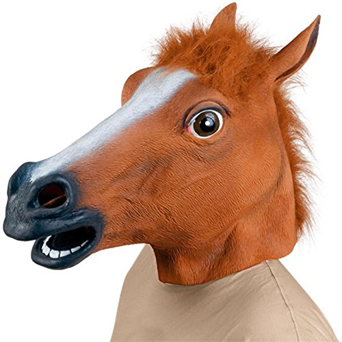 Pferd Kopf Maske Halloween Kostüm Party Theater Prop Neuheit Latex Gummi Gruselig (Scream Braun Kostüm)