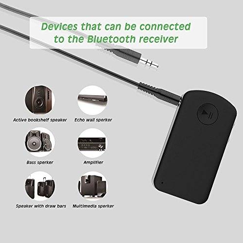 Friencity Bluetooth V4 1 Hands-Free Audio Receiver for Music Streaming   Phone Calling  Wireless 3 5mm Aux Adapter Car kit with Mic for Wired Headphones  Speakers  Home HiFi  Car Stereo Sound System