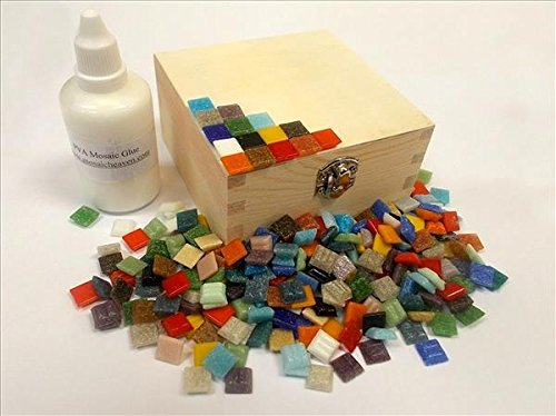 Mosaic Box Tile Kit. Ready to Make. Mixed Colours. Every thing you need to make this Mosaic Box, vitreous tiles and solid wooden box + Adhesive & Instructions.