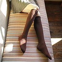 PEMKSAC Calcetines hasta La Rodilla Long Tube Over The Knee Cotton Socks Vertical Stripes Knee Socks New Socks, Coffee