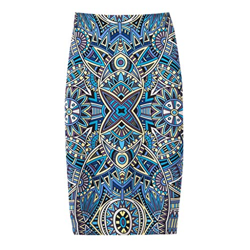 Damen Sommer Mode Rock, Frauen Elegante Trend Komfortable Casual Bag Hüfte Exquisite Print Kleid Täglich Beach Party Outdoor Wear(Hellblau,M) Gras Cord-jeans