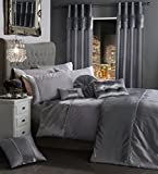 BLING Crushed Velvet Diamante Bedding Bedroom Collection by Viceroybedding (Silver Grey Single Duvet Cover Set Including P/Case)