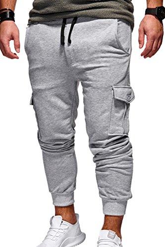 Dazosue Hombres Pantalones Casuales Elegantes Pantalones Multibolsillos Pantalones Joggers Gris clarocolor XL