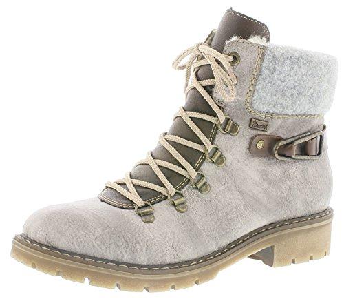Rieker Damen Winterstiefel Y9131,Frauen Winter-Boots,warm,Tex-Membran,wasserfest,Blockabsatz 3.6cm,wasserdicht,Asche/Kastanie/Kastanie/Fog, EU 41