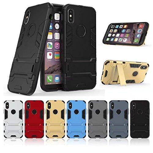 Couvrant Résistant Anti-choc Coque iPhone 8, ocketcase® Robuste Housse Étui avec Béquille Hybrid Case pour Apple iPhone 8 (argent) + Stylet Offerts noir