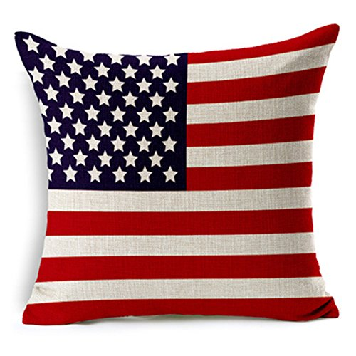 SilkCrane Kissenbezug, USA's Flag Printed Cotton Linen Decorative Throw Pillow Cover, 17.7