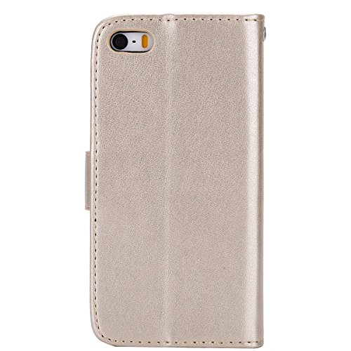 Cover per iPhone 5S/iPhone SE, Custodia per iPhone 5S/iPhone SE, EUWLY Lussuosa Elegante Borsa Custodia in PU Pelle Custodia Cover Supporto Stand e Carte Slot Protettiva Pelle Portafoglio Custodia Fli Gufo Fiore,Oro