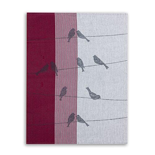 Jacquard-gewebe (KRACHT, Geschirrtuch Jacquard Gewebe, Halbleinen, Serie Zugvögel, rot, Edition ziczac-affaires, ca.50x70cm)
