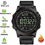 T0003Electronic Digital Sportuhr Smart Bluetooth Armbanduhr Wasserdicht Schrittzähler Fernbedienung Kamera eingehende Anruf oder Nachricht Alert Reminder für iOS & Android Smartphones Herren & Jungen