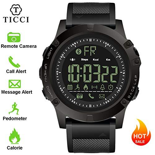 T0003 Digital Sportuhr Smart Bluetooth Armbanduhr Wasserdicht Schrittzähler Fernbedienung Kamera eingehende Anruf oder Nachricht Alert Reminder für Smartphones Herren & Jungen MEHRWEG Bluetooth-digital Digital-kamera