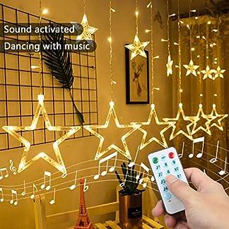 Four Heart Luces de Cortina de Estrella LED Luces de Cadena Estrelladas Blancas Cálidas con 2m 12 Estrellas 138 Leds con Función de Ritmo Musical Decoración de Navidad, Festival,Fiestas, Casa