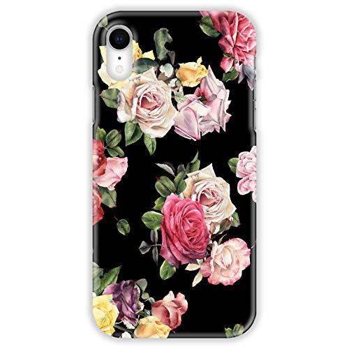 TheSmartGuard Hülle kompatibel für Apple iPhone XR Hülle Blumen Flowers Rosen Vintage Schwarz Rosa Pink Gelb Hard-Case Schutzhülle aus Kunststoff Cover Gelb Hard Case