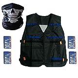 Elite, Gilet tattico per Nerf N-Strike serie Elite, pacco di ricarica con 40 dardi, passamontagna con teschio senza cuciture, KIT